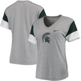Nike Women's Heathered Gray/Green Michigan State Spartans Breathe Team Sleeve Performance V-Neck T-Shirt