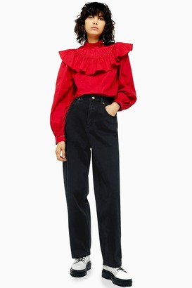 Topshop Womens Washed Black Oversized Balloon Jeans - Washed Black