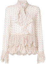 See by Chloe printed frill pussybow blouse - women - Polyester/Viscose - 36