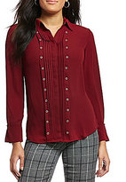 Investments Long Sleeve Button Front Grommet Blouse
