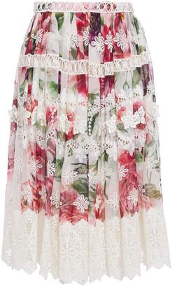 Dolce & Gabbana Guipure Lace-trimmed Floral-print Silk-blend Georgette Skirt