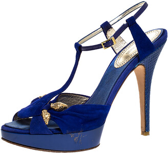 Roberto Cavalli Blue Suede Leather Platform Ankle Strap Sandals Size 39.5