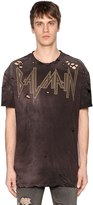 Balmain Printed Destroyed Cotton Jersey T-Shirt