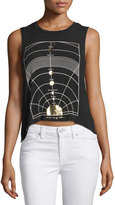 Spiritual Gangster Metallic Chakras Sutra Muscle Tank Top, Black