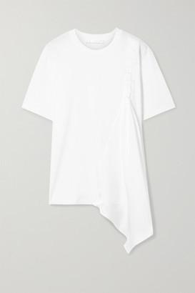 Victoria Victoria Beckham Victoria, Victoria Beckham - Asymmetric Draped Cotton-jersey And Satin-twill T-shirt - White