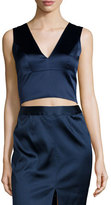 L'Agence Iliana Sleeveless Satin Crop Top, Royla