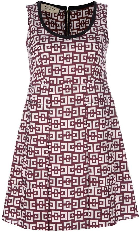 Marni retro print empire dress