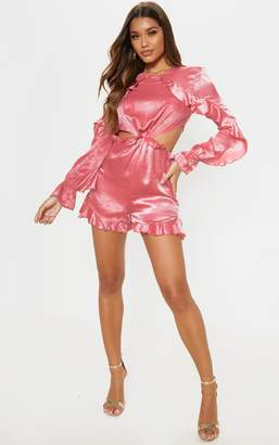 PrettyLittleThing Pink Satin Ruffle Detail Long Sleeve Playsuit