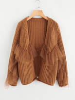 Shein Ruffle Mesh Embellishing Open Front Cardigan