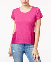 Maison Jules Lace Peplum T-Shirt, Created for Macy's