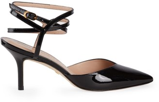 Stuart Weitzman Revel Ankle-Wrap Patent Leather Pumps