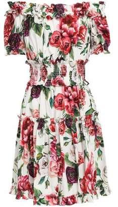 Dolce & Gabbana Off-the-shoulder Shirred Floral-print Cotton-poplin Mini Dress