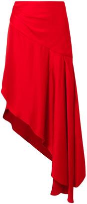 Monse Asymmetric Satin Midi Skirt