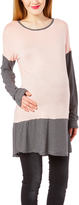 Casa Lee Pink & Black Stripe Maternity Long-Sleeve Tunic