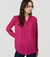 LOFT Petite Dotted Puff Sleeve Blouse