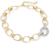 RJ Graziano Goldtone Pave Chain-Link Collar Necklace