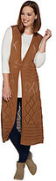 As Is Denim & Co. Sleeveless Open Front Crochet Vest Duster w/Button