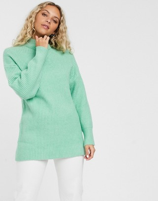 Monki ribbed roll neck jumper in mint green-Beige