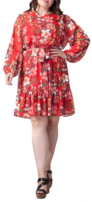 A.Calin Floral Balloon Sleeve Dress (Plus Size)