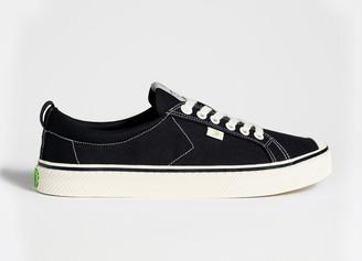 Cariuma OCA Low Stripe Washed Black Canvas Contrast Thread Sneaker Women
