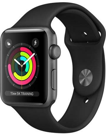 Apple Refurbished Watch Series 3 GPS, 42mm Aluminum Case with Black Sport Band