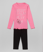Beary Basics Hot Pink & Black 'Play On' Tee & Leggings - Toddler & Girls