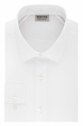 Kenneth Cole Reaction Men's Dress Shirt Extra Slim Fit Stretch Stay-Crisp Collar Solid