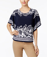 JM Collection Mixed-Print Butterfly-Sleeve Top, Only at Macy's