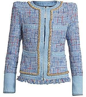 Balmain Women's 4-Pocket Denim & Tweed Jacket