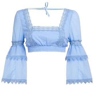 Charo Ruiz Ibiza Lace-Detail Hadi Crop Top
