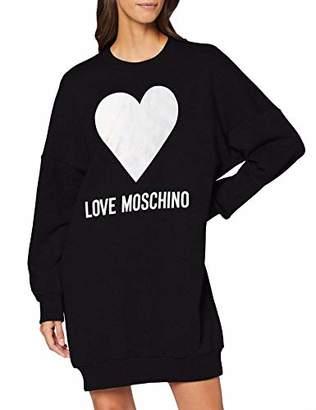 Love Moschino Women's Long Sleeve, Bottom Ribs_Love & Hearts Iridescent Silver Print Dress,10 (Size: )