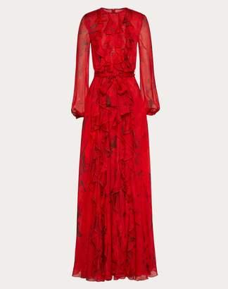 Valentino Chiffon Evening Dress With Overdyed Flower Print Women Red 38