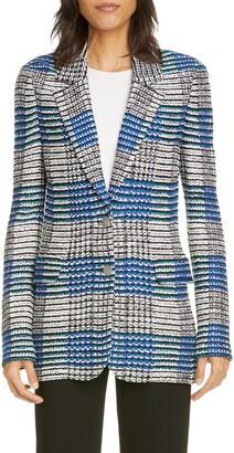 St. John Ribbon Plaid Knit Jacket