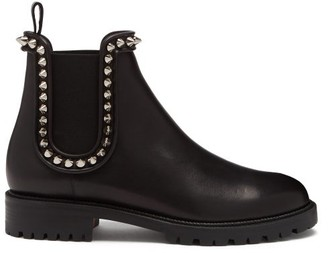 Christian Louboutin Crapahutta Spike Leather Chelsea Boots - Black