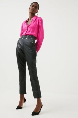 Karen Millen Leather Button Detail Trouser