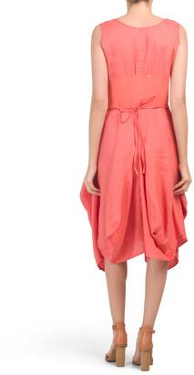 Sleeveless Linen Drape Skirt Dress