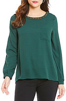 Gibson & Latimer Mix Media Long Sleeve Top with a Split Back