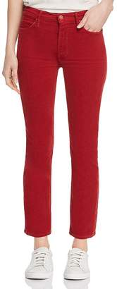 Mother The Dazzler Ankle Straight-Leg Corduroy Jeans in Garnet