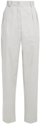 Nina Ricci Pleated Cotton-poplin Tapered Pants