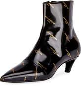 Balenciaga Logo-Print Patent Leather Bootie, Noir (Black)