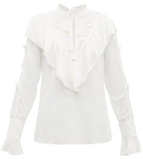 See by Chloe Floral-embroidered Ruffled Crepe Blouse - Womens - White