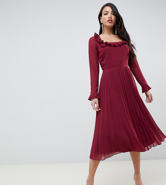 Asos Tall DESIGN Tall pleated ruffle square neck midi dress-Red