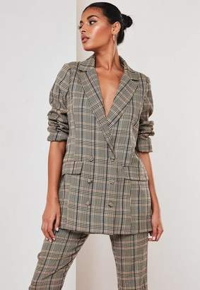 Missguided Petite Brown Co Ord Check Oversized Masculine Blazer