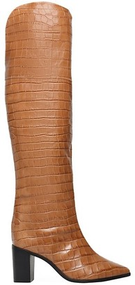 Schutz Anaisha Over-The-Knee Croc-Embossed Leather Boots