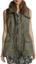 Haute Hippie Floral Jacquard Cargo Vest, Military