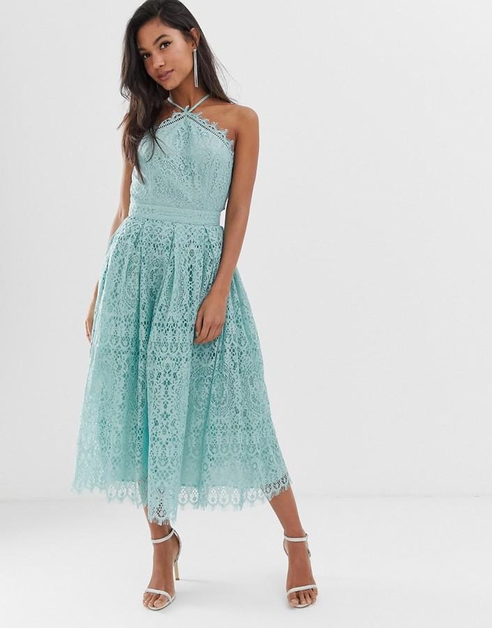 Asos DESIGN lace midi dress with pinny bodice