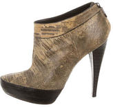 Donna Karan Lizard Round-Toe Ankle Boots