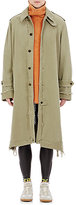 Maison Margiela Men's Frayed-Edge Canvas Trench Coat-GREEN, DARK GREEN