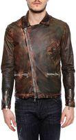 Giorgio Brato Leather Jacket With Diagonal Zip
