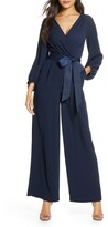 Eliza J Faux Wrap Long Sleeve Jumpsuit